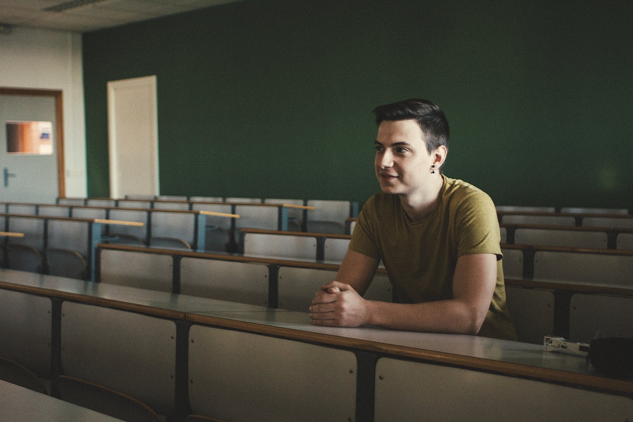 Man in a university classroom